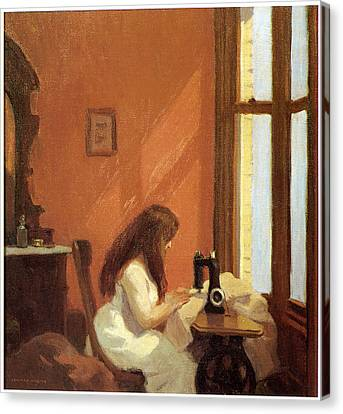 Girl At Sewing Machine Canvas Print by Edward Hopper