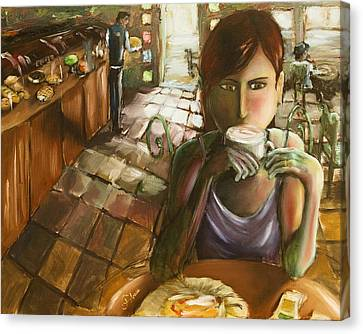 Girl At The Cafe Canvas Print by Carlos Flores