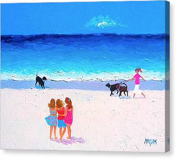 Girl Friends - Beach Painting Canvas Print by Jan Matson