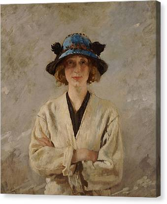 Girl In A Blue Hat, 1912 Canvas Print by Sir William Orpen