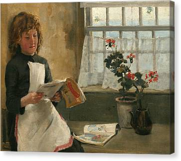 Girl In A Cottage Window Canvas Print by Norman Garstin