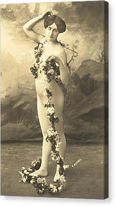Girl In Body Stocking Holding Garland Of Flowers Canvas Print by French School