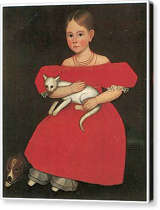 Girl In Red With Her Cat And Dog Canvas Print by Ammi Phillips