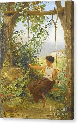 Girl On A Swing Canvas Print by Henryk Siemiradzki