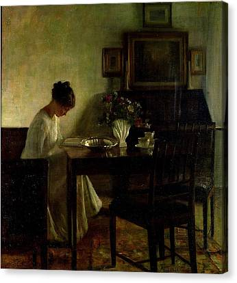 Girl Reading In An Interior  Canvas Print by Carl Holsoe