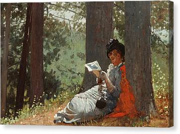 Girl Reading Under An Oak Tree Canvas Print by Winslow Homer