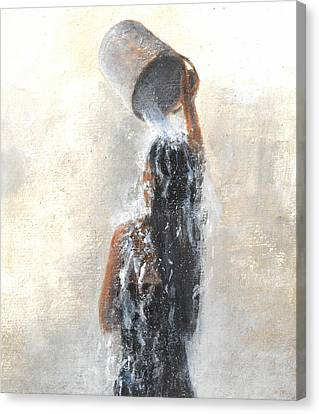 Girl Showering Canvas Print by Lincoln Seligman