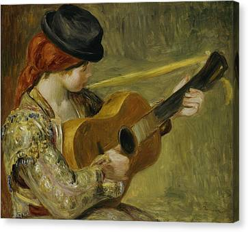 Girl With A Guitar Canvas Print by Pierre Auguste Renoir