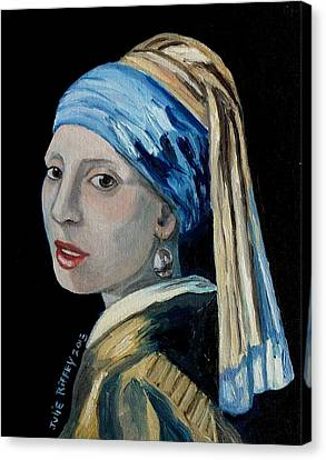Girl With The Pearl Earring -inspired By Johannes Vermeer Canvas Print by Julie Brugh Riffey
