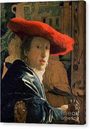 Girl With A Red Hat Canvas Print by Jan Vermeer