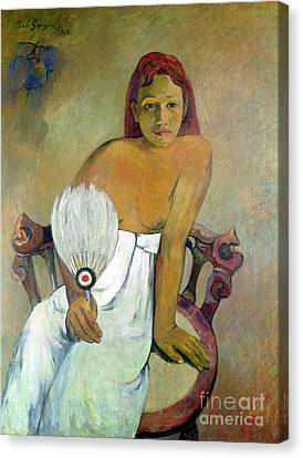 Girl With Fan Canvas Print by Paul Gauguin