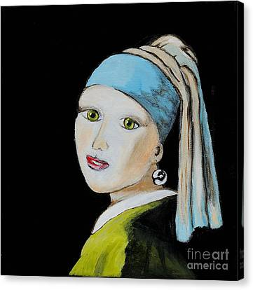 Girl With Pearl Earring Canvas Print by Art by Danielle
