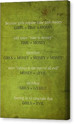 Girls Are Evil Proof Formula Math Humor Nerd Art Poster Canvas Print by Design Turnpike