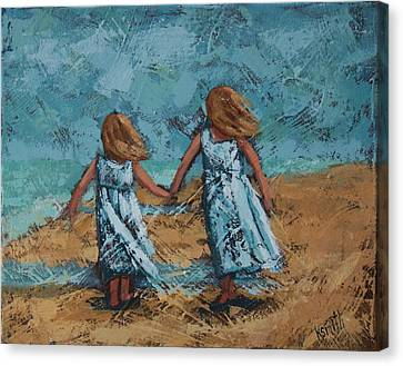 Girls In White Dresses Canvas Print by Karen Smith