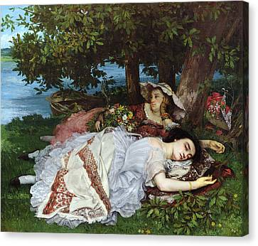 Girls On The Banks Of The Seine Canvas Print by Gustave Courbet