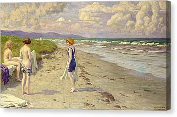 Girls Preparing To Bathe On The Beach Canvas Print by Paul Fischer