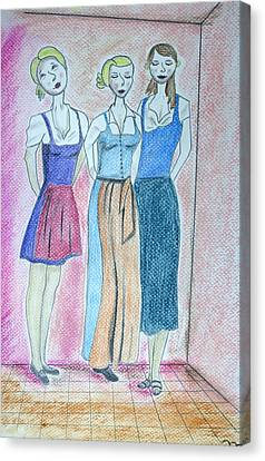 Girls Standing Canvas Print by Jose Valeriano
