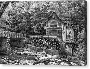 Glade Creek Grist Mill 2 Bw Canvas Print by Steve Harrington