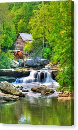 Glade Creek Grist Mill Canvas Print by Darren Fisher