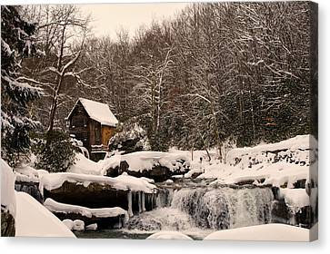 Glade Creek Grist Mill Winter Canvas Print by Chris Flees