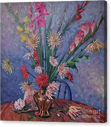 Gladiolas And Dahlias Canvas Print by Donald Maier