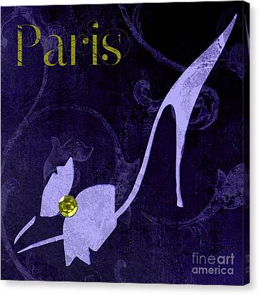 Glamour Paris Blue Shoe Canvas Print by Mindy Sommers