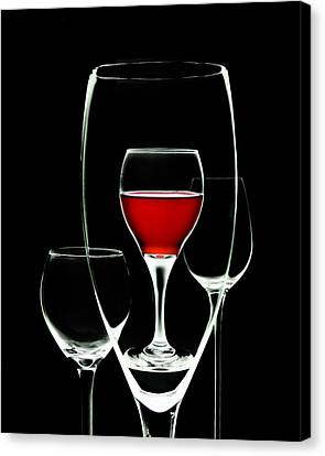Glass Of Wine In Glass Canvas Print by Tom Mc Nemar