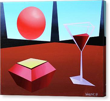 Glass Of Wine On Planet X Canvas Print by Mark Webster
