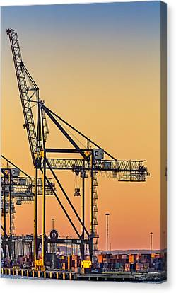 Global Containers Terminal Cargo Freight Cranes Canvas Print by Susan Candelario
