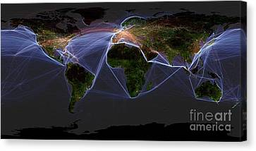 Global Transportation Map Canvas Print by Felix PD and Globaia