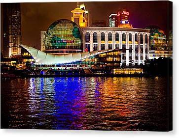 Globes On The Bund At Night Canvas Print by James O Thompson
