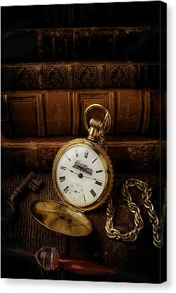 Glod Train Pocket Watch Canvas Print by Garry Gay