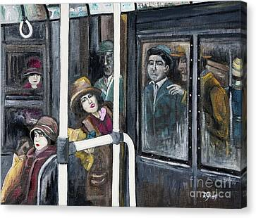 Gloria Swanson In Subway Scene From Manhandled Canvas Print by Reb Frost