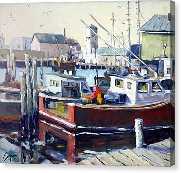 Gloucester Harbor And The Birdseye Tower Canvas Print by Chris Coyne