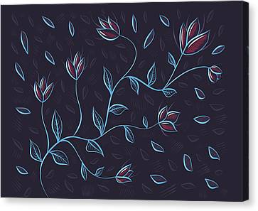 Glowing Blue Abstract Flowers Canvas Print by Boriana Giormova