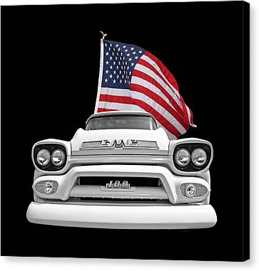 Gmc Pickup With Us Flag Canvas Print by Gill Billington