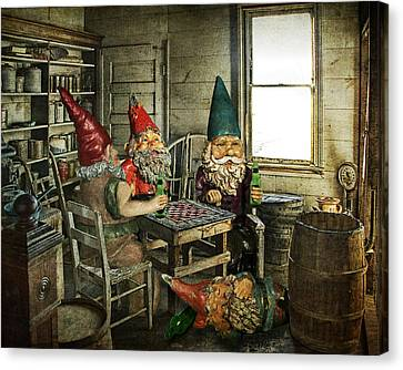 Gnomes Playing Checkers Canvas Print by Randall Nyhof