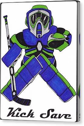 Goalie Blue Green Canvas Print by Hockey Goalie
