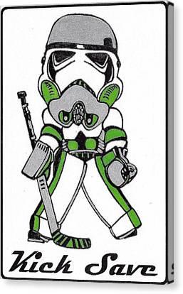 Goalie Green Canvas Print by Hockey Goalie