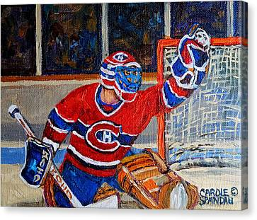 Goalie Makes The Save Stanley Cup Playoffs Canvas Print by Carole Spandau