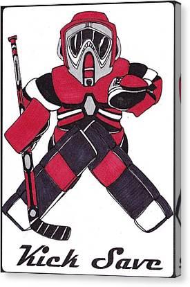 Goalie Red Canvas Print by Hockey Goalie
