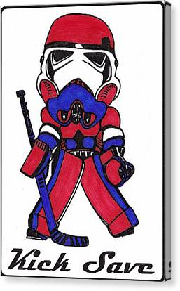 Goalie Red White And Blue Canvas Print by Hockey Goalie