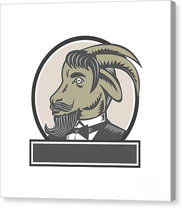 Goat Beard Head Circle Woodcut Canvas Print by Aloysius Patrimonio