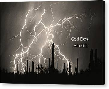 God Bless America Bw Lightning Storm In The Usa Desert Canvas Print by James BO  Insogna