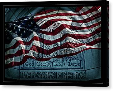 God Country Notre Dame American Flag Canvas Print by John Stephens