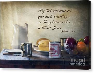 God Meets All Our Needs Canvas Print by Priscilla Burgers