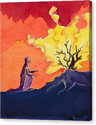 God Speaks To Moses From The Burning Bush Canvas Print by Elizabeth Wang