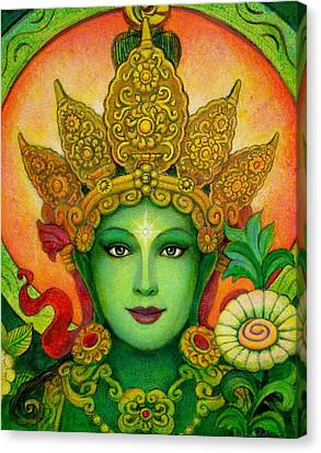 Goddess Green Tara's Face Canvas Print by Sue Halstenberg
