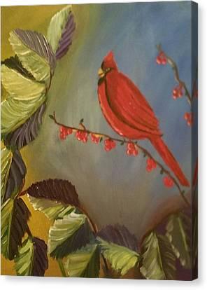 Gods Cardinal Promise Canvas Print by Diann Blevins
