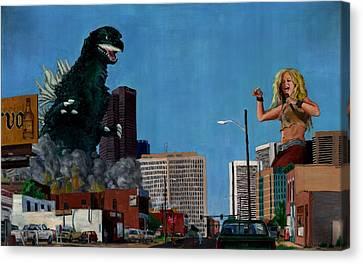 Godzilla Versus Shakira Canvas Print by Thomas Weeks